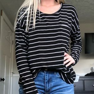 Striped long sleeve with pocket